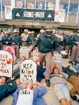 ACT UP protestors in front of FDA headquarters_1985