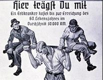 Nazi propaganda poster with young man carrying two men