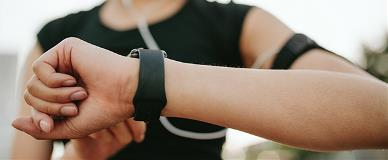 woman with wrist monitor