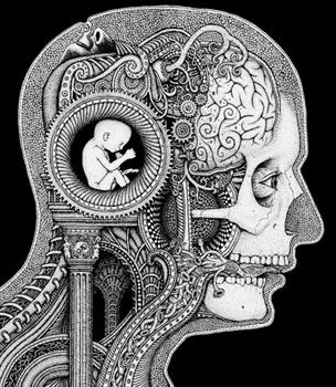 Illustration of human head with doodles