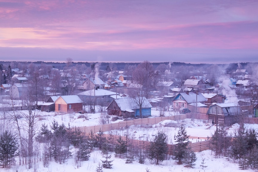 Rural town in winter